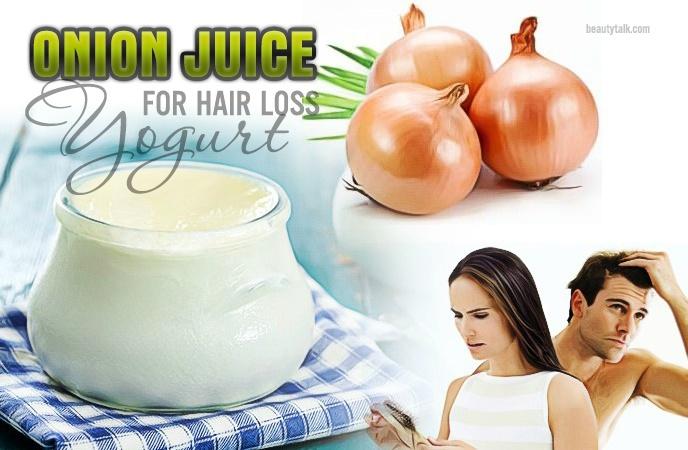 onion juice for hair loss - yogurt & onion juice