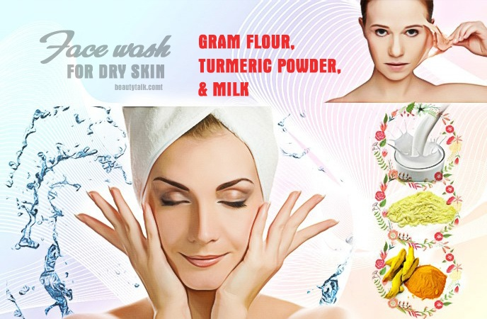face wash for dry skin - gram flour, turmeric powder, & milk face wash for dry skin