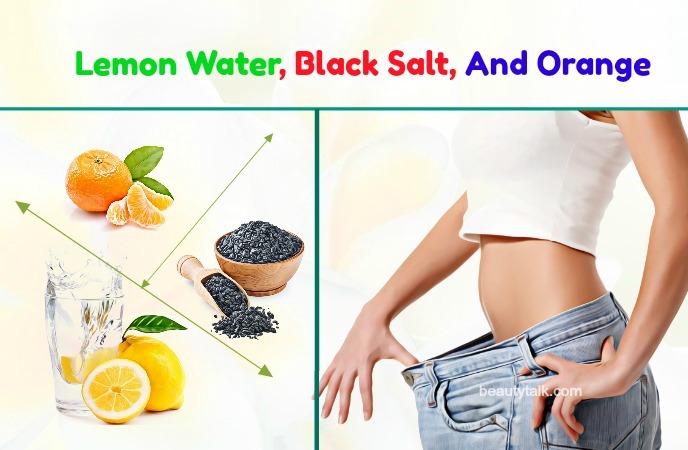 lemon water, black salt, and orange