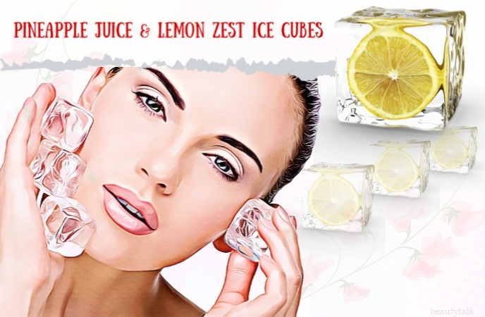ice cube recipes - pineapple juice & lemon zest ice cubes
